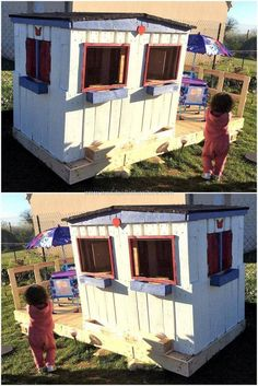 This is another perfectly constructed pallets wood kid's playhouse constructed specially to fulfill your kid's demands. It has all the things in it that a kid desires to have in his own playhouse. It also seems like an outdoor farmhouse for relaxing and playing of your kids.  #pallets #woodpallet #palletfurniture #palletproject #palletideas #recycle #recycledpallet #reclaimed #repurposed #reused #restore #upcycle #diy #palletart #pallet #recycling #upcycling #refurnish #recycled #woodwork…