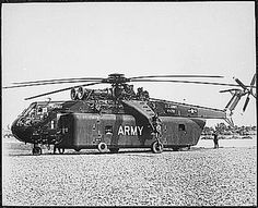 One of the unique pieces of equipment brought to Vietnam by the 1st Cavalry Division (Airmobile), U.S. Army, is the huge Sky Crane CH-54A helicopter which can lift tremendous loads. Viet Nam Photo Service. (1958-1974). Picture courtesy of the National Archives and Records Administration.