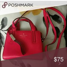 Auth.Mini Kate Spade Shoulder Bag Tomato Red in color .Leather..in good condition kate spade Bags Mini Bags