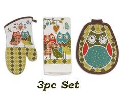 Owl Kitchen glove and towel