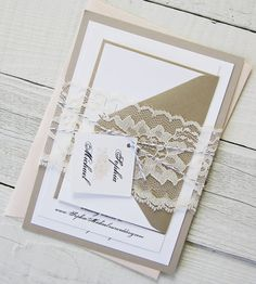 Peach Peony Wedding Invitation - Vintage Grey Elegant Lace Lotus Gold Twine Pink Flower Floral.  Purcase this listing for a Sample., $6.00