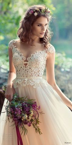 papilio 2017 bridal cap sleeves sweetheart neckline heavily embellished bodice tulle skirt romantic ivory color modified a line wedding dress sheer back chapel train (iora) zv -- Papilio 2017 Wedding Dresses