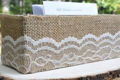 Burlap and Lace Wrapped Box - Wedding Program Holder - Rustic Barn Woodland Wedding - Well Wishes Box - Knick Knack Box on Etsy, $12.00