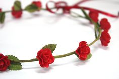 Red Roses Tiara Miniature Polymer Clay Flowers by minihandmade, $7.50