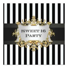 Black White Stripe Sweet 16 Party Invit Invitation 30th Birthday Invitations 40th Parties