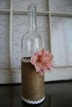 Lace & Twine Wine Bottle Vase Embellished with a Pink Flower. Country, Rustic, Shabby Chic Wedding Decor. | Blustery Charm