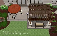 Simple Brick Patio with Pergola - Patio Designs & Ideas