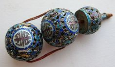 A stunning group of detailed enameled antique Chinese (court) beads - lovely!