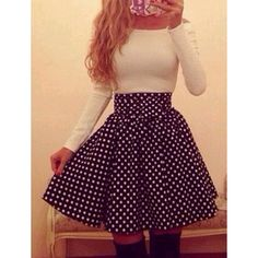 Sweet Boat Neck Elastic Waist Polka Dot Long Sleeve Dress For Women