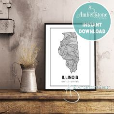 ILLINOIS ART PRINT, Instant Download, Illinois Print, Illinois State Print, Printables, Black and White Print, Illinois Art Prints by AmberstoneDesign on Etsy Stock Photo Websites, Zebra Decor, Black And White Printer, Illinois State, Nursery Letters, Photo Store, Amber Stone, Bear Art, Typography Art