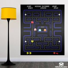 Design of the mythical comecoco video game that marked an era, you will go with Pac-Man through different labyrinths. Gamer Bedroom, Bedroom Art, Bedroom Themes, Pac Man, Arcade, Space Invaders, Tiny Bedroom Design, Paper Wall Decor, Vinyl Paper