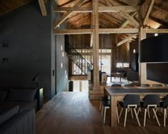 Villa Solaire is located in France and it used to be a farmhouse. Originally built in the structure was converted into a modern villa by Jérémie Blog Architecture, Hygge Home Interiors, Barn House Conversion, Living Area, Living Spaces, Houses In France, Amazing Spaces, Interior Design, Home Decor