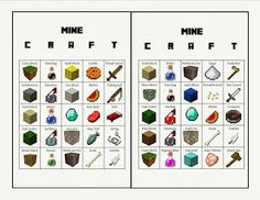Minecraft Bingo Game Cards. Great for a party! Free printable. Make sure you print the Master Sheets as well.