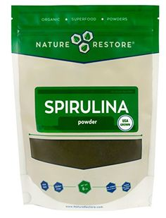 Nature Restore Spirulina Powder USA Grown and Harvested 8 Ounces NonGMO -- Click image to review more details.