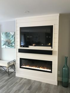 Shiplap Entertainment Centre With Fireplace # shiplap entertainment center mit kamin # Fireplace Tv Wall, Basement Fireplace, Linear Fireplace, Build A Fireplace, Fireplace Built Ins, Bedroom Fireplace, Farmhouse Fireplace, Fireplace Remodel, Fireplace Design