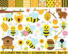 62 Bee Clipart bees Clipart Honey bees clip art Bee by JaneJoArt