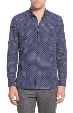 Peter Werth Trim Fit Diamond Print Sport Shirt
