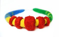 Colorful Felted Necklace felt Choker multicolored by JirsaFELT
