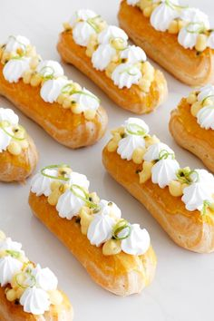 Show off your baking skills with this Passion Fruit and Meringue Eclairs dessert recipe perfect for date night. Eclairs, Profiteroles, Köstliche Desserts, Delicious Desserts, Dessert Recipes, French Desserts, Plated Desserts, Summer Desserts, Healthy Desserts
