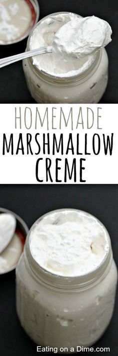 How to Make Marshmallow Creme Great for desserts or dips! how to make marshmallow creme - don't spend your money on the store bought when you can makemarshmallow creme at home! How To Make Marshmallows, Recipes With Marshmallows, Homemade Marshmallows, Homemade Candies, Homemade Soaps, Marshmallow Creme, Marshmallow Frosting, Candy Recipes, Sweet Recipes
