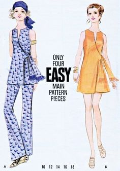 Wrap Dress Tunic Pattern Butterick 5754 Kawaii Cute Sexy Side Wrap ...
