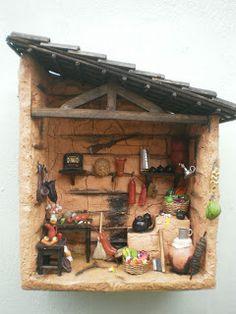 Diy Dollhouse, Dollhouse Furniture, Dollhouse Miniatures, Christmas Themed Cake, Christmas Themes, Twig Furniture, Tile Crafts, Fairy Garden Houses, Miniature Fairy Gardens