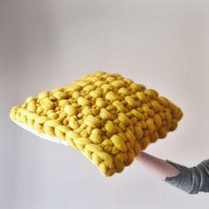 Mustard yellow chunky knit cushion - mustard knitted cushion - Chunky knit yellow cushion cover - Th Mustard Cushions, Yellow Cushions, Custom Cushions, Decorative Cushions, Knitting Kits, Hand Knitting, Devon, Diy Crochet Basket, Yellow Cushion Covers