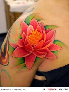 Color lily tattoo - this was freehand drawn on & done as a walk-in. Freehand Lily tattoo walk-in Lotus Tattoo Design, Lotus Flower Tattoo Meaning, Flower Tattoo Meanings, Tattoo Designs And Meanings, Flower Tattoo Designs, Tattoos With Meaning, Flower Tattoos, Lotus Tatoos, Pink Lotus Tattoo