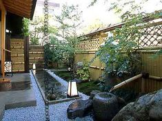 asian influenced backyards | Asian inspired idea for walkway by side of ... | Backyard Fence Line ... Bamboo Privacy Fence, Fence Plants, Privacy Fences, Fencing, Yard Design, Fence Design, Natural Fence, Fence Styles, Bamboo Garden