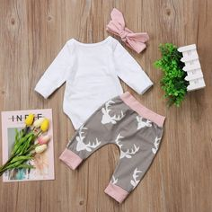 f2736fc3de9 Greenafter Newborn Baby Girl Hello World Romper Bodysuit and Deer Pants  Outfit With Headband 36M White and Gray     Want additional info