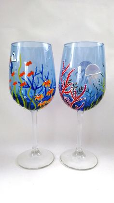 Ocean Wine Glasses Hand Painted Wine Glasses Gift Gift by HiMaria