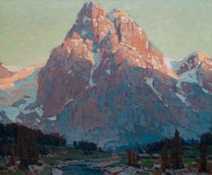 "Edgar Payne (1883-1947) ""Sunlit Peak"" 24 x 28, Oil on canvas. The Crocker Art Museum's Chief Curator and Associate Director, Scott Shields, describes Payne's works as ""imbued with an internal force and active dynamism achieved through majestic, vital landscape subjects""."