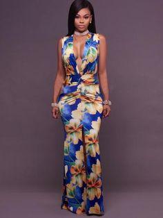 412a94b161cd Flowers Pattern Ruffled V Neck Women's Maxi Dress