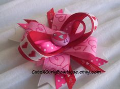 Bird Hair bow Girls Red Pink White by CuteNCurlyBowtique on Etsy, $7.50