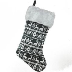 Wayfair Reindeer and Snowflake Knit Christmas Stocking with Faux Fur Cuff #affiliate link
