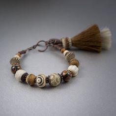 Tribal Bracelet • Horse Hair Tassel Bracelet • Brown Beaded Bracelet • Bone • DZI Agate • Steatite • Czech Glass Beads • Raw Glass • Wood