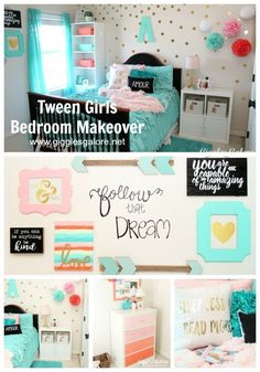 Is your little girls bedroom decor ready for an update? Create a colorful and fu. Is your little girls bedroom decor ready for an update? Create a colorful and fun Tween Girls Bedroom Makeover with these colorful, fun and personalized ideas. Little Girl Bedrooms, Teenage Girl Bedrooms, Bedroom Girls, Kid Bedrooms, Kids Bedroom Ideas For Girls Tween, Girl Rooms, Preteen Girls Rooms, Bedroom Sets, Diy Bedroom Decor For Girls