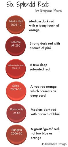 """SIx splendid """"go-to"""" red paint colours by Benjamin Moore - Ideal for painting your front door. Red Paint Colors, Front Door Paint Colors, Painted Front Doors, Kitchen Paint Colors, Exterior Paint Colors, Front Door Decor, Red Front Doors, Wall Colours, Stain Colors"""