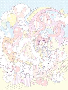 ✮ ANIME ART ✮ pastel. . .girl. . .twin tails. . .clouds. . .balloons. . .rainbow. . .bunnies. . .music notes. . .piano keyes. . .cute. . .kawaii