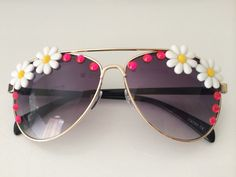 Floral and Jeweled Sunglasses Gold Aviator by FestivalOutfitter