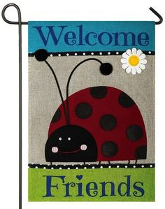 Burlap Welcome Friends Ladybug Decorative Garden Flag