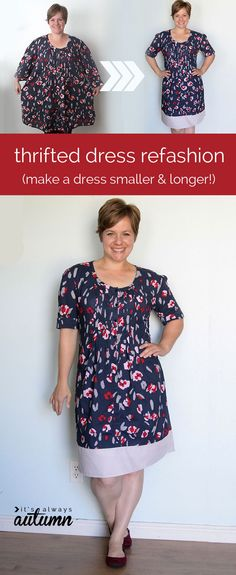 how to take in a too big dress and make it longer sewing tutorial - love the before & after photos!