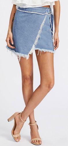 D-Ring Belted Frayed Overlap Denim Skirt