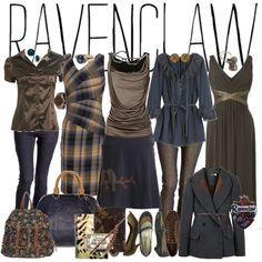 """""""RAVENCLAW"""" by flamingpeach on Polyvore  -I love the colors and some of the clothes and shoes."""