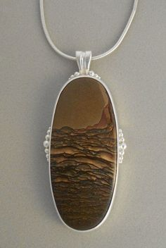 Deschutes Picture  Jasper Necklace   Sterling Silver  One -of- a Kind   Handcrafted in Colorado