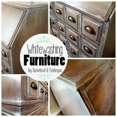 Whitewashing furniture to resemble expensive Restoration Hardware pieces! Good info for design on wood too