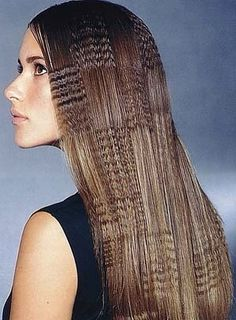 Patterned crimped hair works well with long locks.