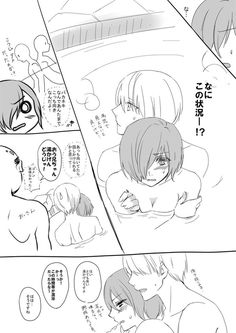2/3 Touka using the wrong hot springs and Kaneki trying to keep her covered (so sweet) ^^