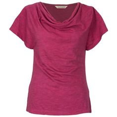Nomad Fair Trade Organic Cotton T-Shirt ($22) ❤ liked on Polyvore featuring tops, t-shirts, organic cotton tops, organic cotton t shirts, purple tee, summer tees and cowl neck top