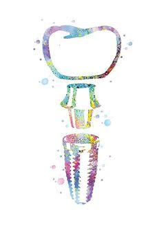 Illustration dart médical, dent, impression dart Ceci est une fusion de techniques mixtes entre aquarelle et acrylique & de travail numérique. *Implant affiche, Cadeau dentiste, dent art, décoration cabinet dentaire, art médical, aquarelle dent, implant, aquarelle multicolore* CADRE NON